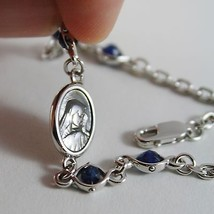 925 SILVER BRACELET WITH SAPPHIRE AND VIRGIN MARY MEDAL BY ZANCAN MADE IN ITALY image 2