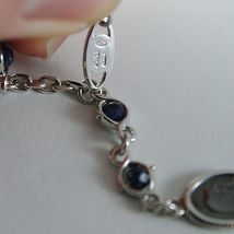 925 SILVER BRACELET WITH SAPPHIRE AND VIRGIN MARY MEDAL BY ZANCAN MADE IN ITALY image 4