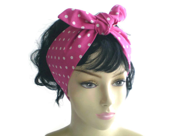Primary image for Pink White Polka Dot Head Scarf Dot Head Scarves 1950s Knotted Retro Head Scarf