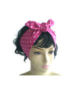 Pink White Polka Dot Head Scarf Dot Head Scarves 1950s Knotted Retro Hea... - £6.55 GBP