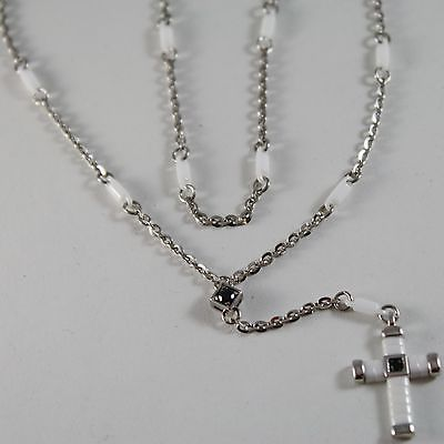 925 SILVER NECKLACE ROSARY WITH CROSS, WHITE AGATE BY ZANCAN MADE IN ITALY
