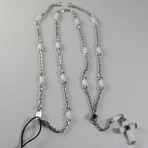 925 SILVER NECKLACE ROSARY WITH CROSS, WHITE AGATE BY ZANCAN MADE IN ITALY image 2