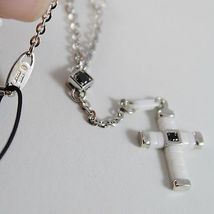 925 SILVER NECKLACE ROSARY WITH CROSS, WHITE AGATE BY ZANCAN MADE IN ITALY image 4