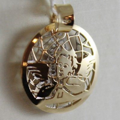 18K YELLOW ANS WHITE GOLD GUARDIAN ANGEL PENDANT DOUBLE TWO FACES MADE IN ITALY