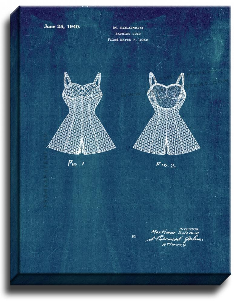 Primary image for Bathing Suit Patent Print Midnight Blue on Canvas