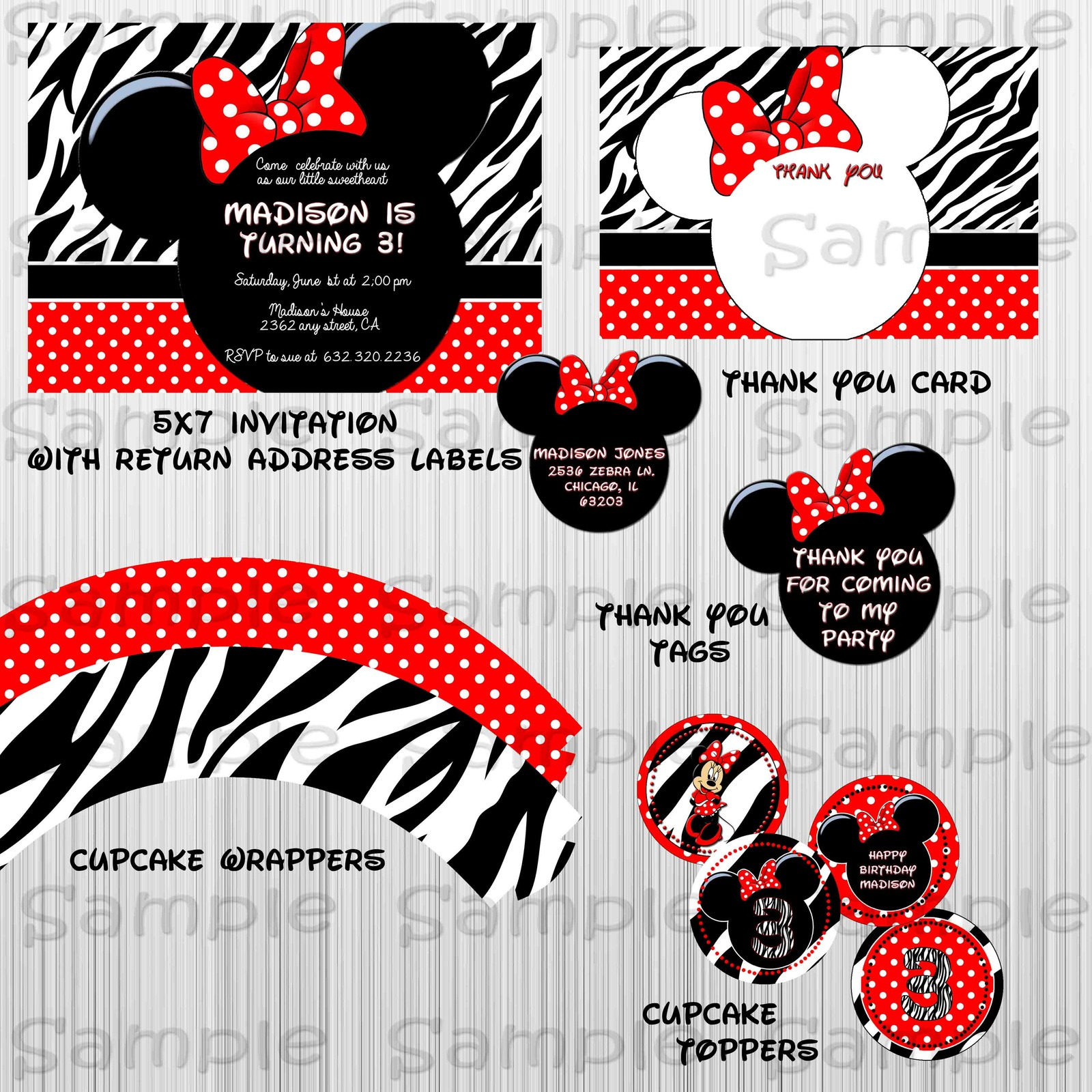 Printable Zebra Minnie Mouse Party Package: Birthday, Custom, Baby Shower for sale  USA
