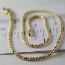 SOLID 18K YELLOW GOLD BRACELET MINI BASKET ROUND MESH 1 MM WIDTH MADE IN ITALY image 2