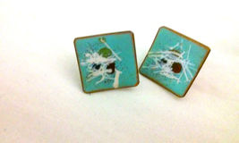 Vintage 1960's Signed with an Anvil Enamel on Copper Screwback Earrings ... - $6.00