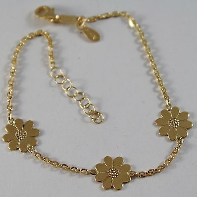 SOLID 18K YELLOW GOLD BRACELET WITH FLAT FLOWERS DAISY MARGUERITE MADE IN ITALY