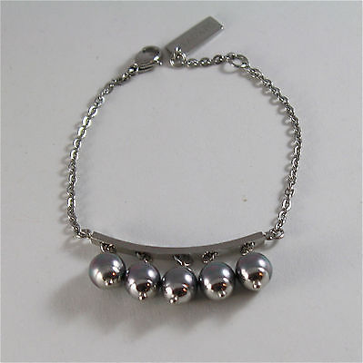 STAINLESS STEEL BRACELET WITH 8 MM GREY SYNTHETIC PEARLS CHARMS 7.48 IN LONG