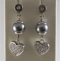 STAINLESS STEEL EARRINGS WITH GREY SYNTHETIC PEARLS & HEARTS WITH WHITE CRYSTALS
