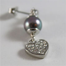 STAINLESS STEEL EARRINGS WITH GREY SYNTHETIC PEARLS & HEARTS WITH WHITE CRYSTALS image 3