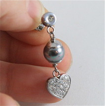 STAINLESS STEEL EARRINGS WITH GREY SYNTHETIC PEARLS & HEARTS WITH WHITE CRYSTALS image 5