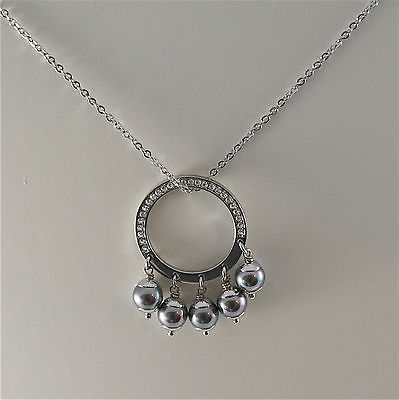 STAINLESS STEEL NECKLACE WITH GREY SYNTHETIC PEARLS CHARMS AND WHITE CRYSTALS