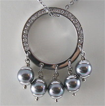 STAINLESS STEEL NECKLACE WITH GREY SYNTHETIC PEARLS CHARMS AND WHITE CRYSTALS image 2
