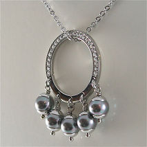 STAINLESS STEEL NECKLACE WITH GREY SYNTHETIC PEARLS CHARMS AND WHITE CRYSTALS image 3