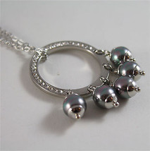 STAINLESS STEEL NECKLACE WITH GREY SYNTHETIC PEARLS CHARMS AND WHITE CRYSTALS image 4