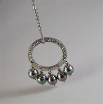 STAINLESS STEEL NECKLACE WITH GREY SYNTHETIC PEARLS CHARMS AND WHITE CRYSTALS image 5