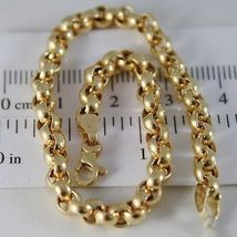 SOLID 18K YELLOW GOLD BRACELET WITH ROUND CIRCLE ROLO MESH 4.5 mm, MADE IN ITALY