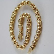 SOLID 18K YELLOW GOLD BRACELET WITH ROUND CIRCLE ROLO MESH 4.5 mm, MADE IN ITALY image 2