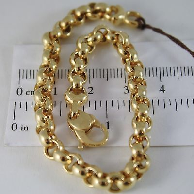 SOLID 18K YELLOW GOLD BRACELET WITH ROUND CIRCLE ROLO MESH 6 mm, MADE IN ITALY