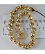 SOLID 18K YELLOW GOLD BRACELET WITH ROUND CIRCLE ROLO MESH 6 mm, MADE IN... - $1,368.00