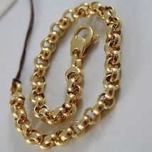 SOLID 18K YELLOW GOLD BRACELET WITH ROUND CIRCLE ROLO MESH 6 mm, MADE IN ITALY image 2