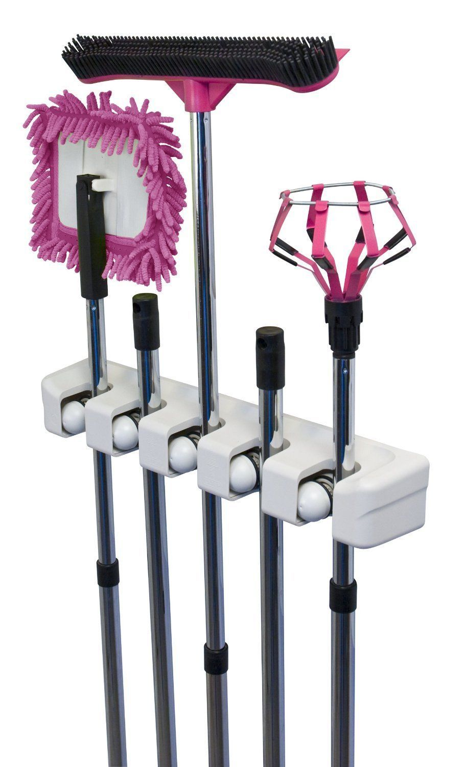 Evriholder Magic Holder 5-Position Wall Organizer, Utility,Room,Broom,Tool, Rack