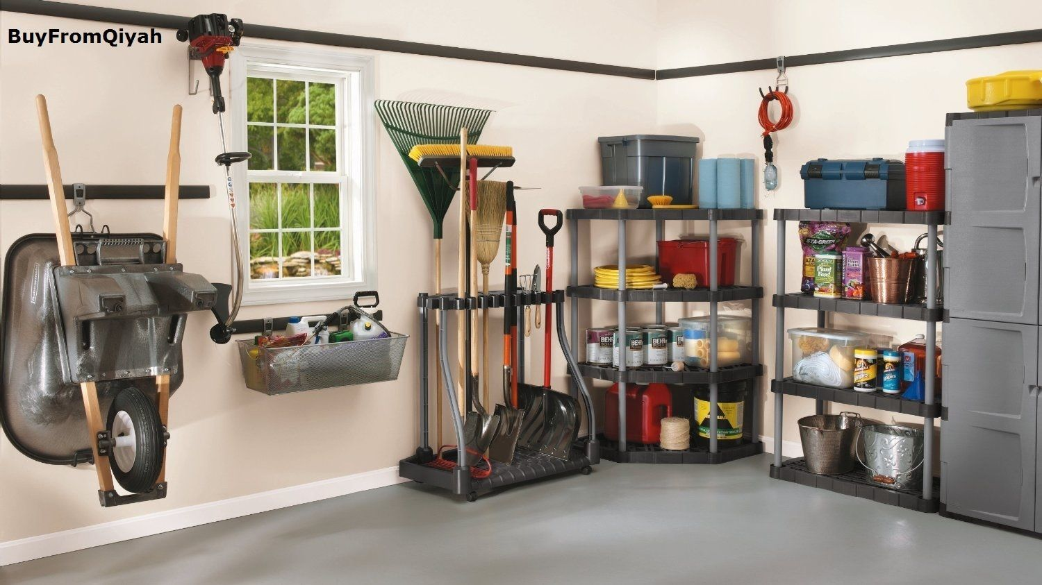 Primary image for Rubbermaid Deluxe Tool Tower, Rack, Caster,Storage,Organize,Hook, Broom, Holder,
