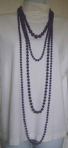 Necklaces, 4 Strands Purple Beads, Multi-Length - $15.00