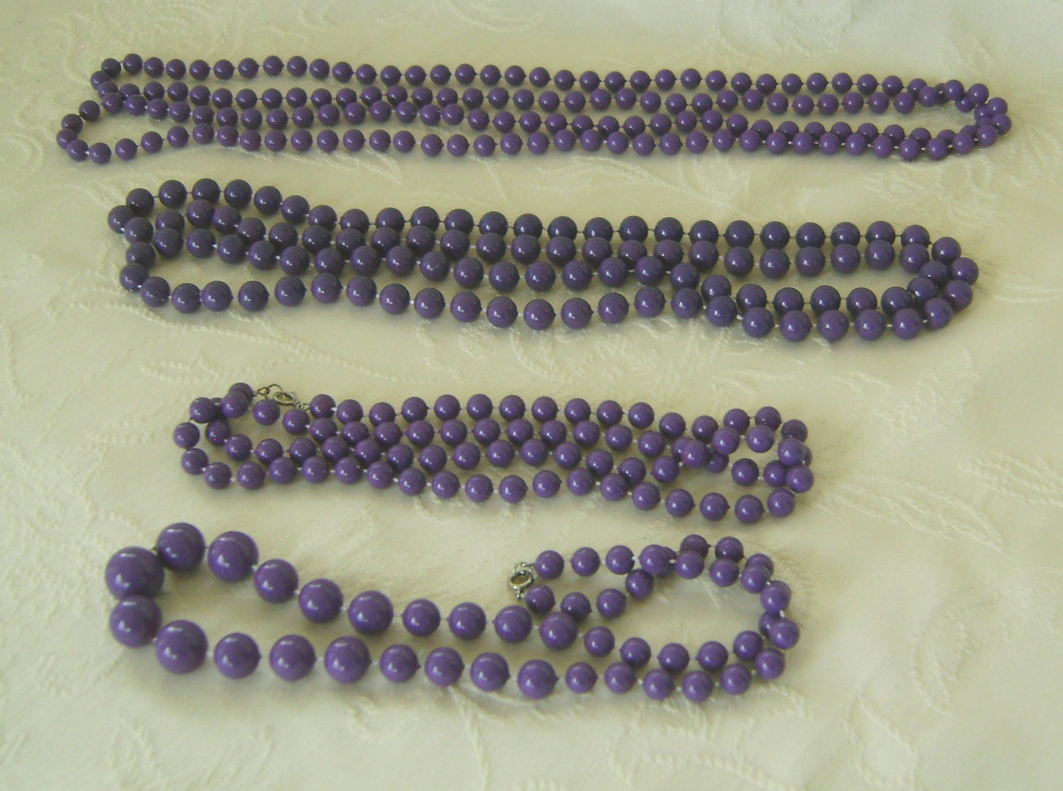 Necklaces, 4 Strands Purple Beads, Multi-Length