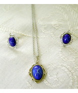 Jewelry Set, Necklace & Post Earrings, Blue Tiger-Eye or Faux Sapphire S... - $11.00