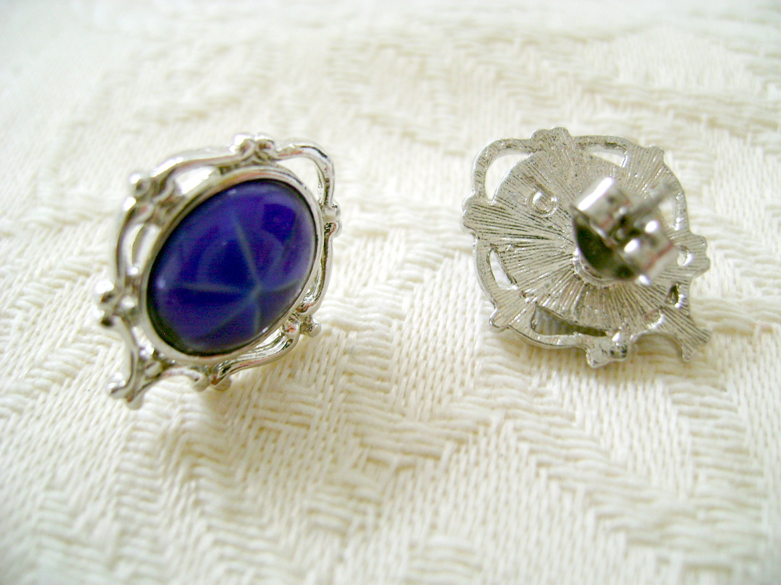 Jewelry Set, Necklace & Post Earrings, Blue Tiger-Eye or Faux Sapphire Stone