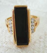 Ring, Avon, Stylish Black Rectangle Set with Rhinestones, Size 8 - $15.00