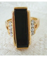 Ring, Avon, Stylish Black Rectangle Set with Rh... - $15.00