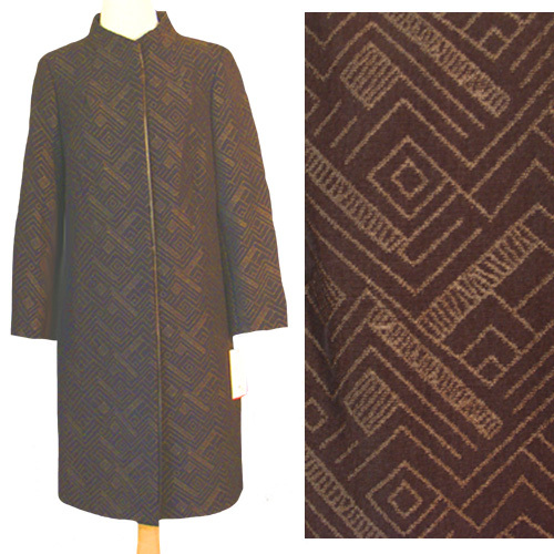 Gui Fu Ren Stunning Brown Textured Dress Coat  NWT Bonanza