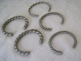 Bracelets, Set of 5 Vintage Cuff, Silvertone, Braid  - $35.00