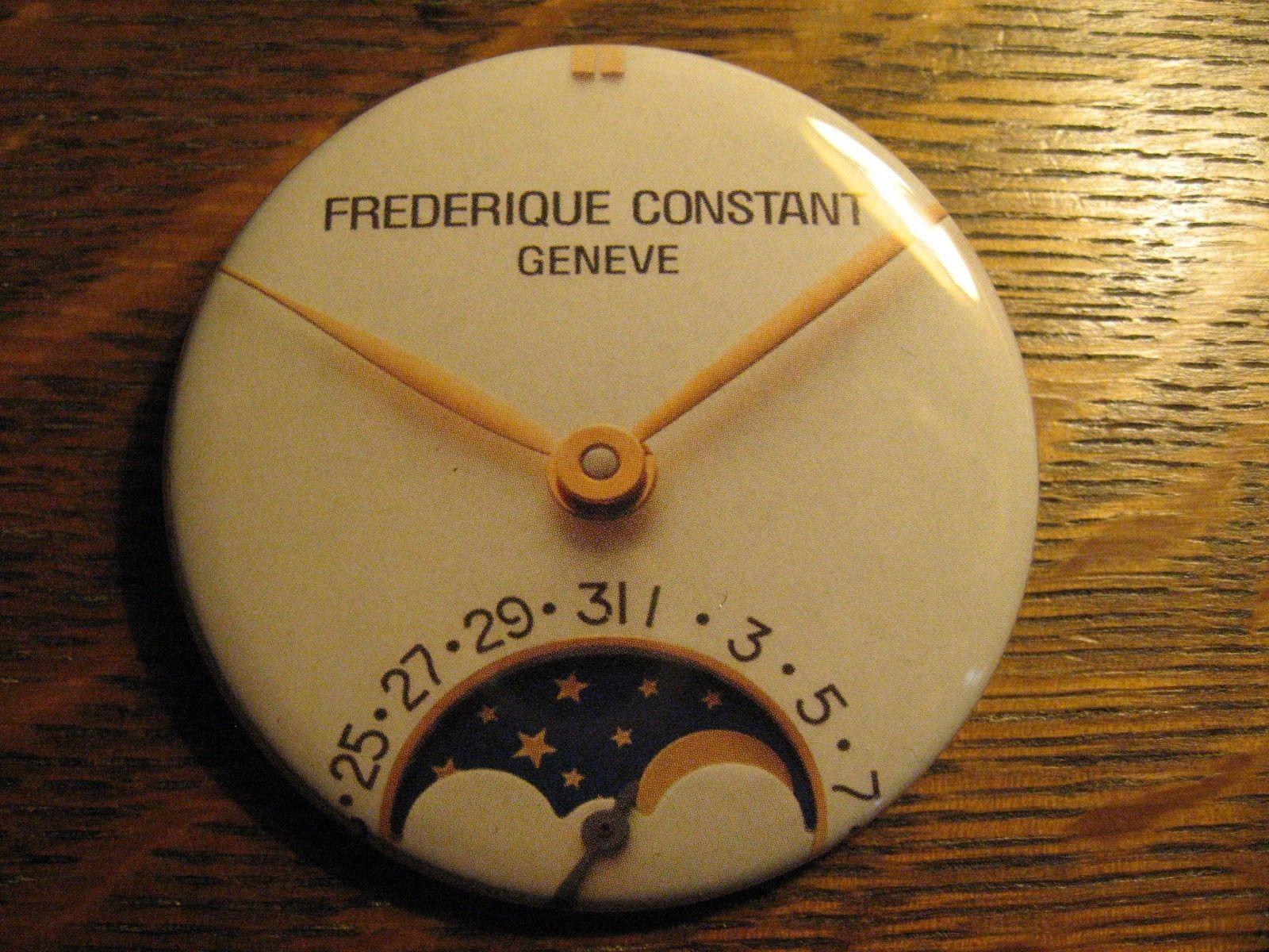 Frederique Constant Moon Dial Swiss Wrist Watch Advertisement Button Lapel Pin