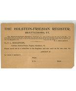 Holstein Friesian Register Brattleboro VT entry form 1900 ephemera cattl... - $4.50