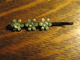 Barrette Vintage 1960's Hair Clip Clasp Green Flower Diamond Rhinestone ... - $19.79
