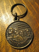 Mount Rushmore South Dakota USA Vintage Brass Souvenir Keychain Century ... - $22.76