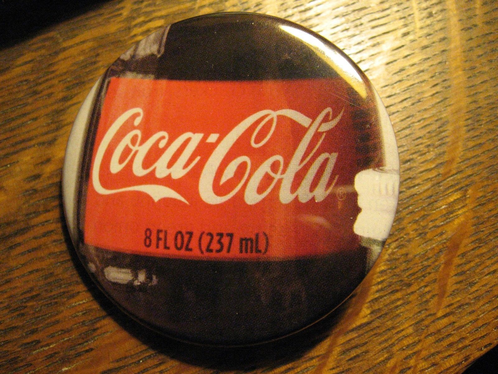 Coca Cola Coke Soda Pop 8 Ounce Bottle Label Logo Advertisement Lapel Button Pin