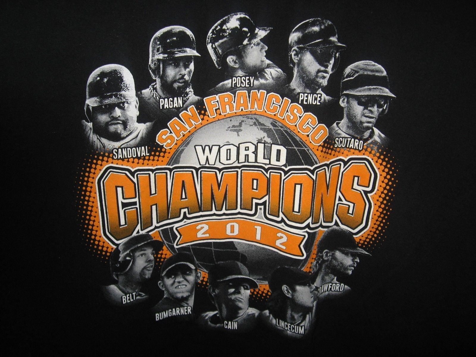 San Francisco Giants Baseball World Series Champion Players 2012 Team T Shirt XL