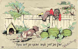 Thou Art So Near Vintage 1907 Black Americana Post Card - $15.00