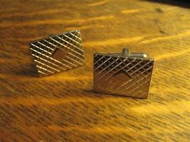 Cufflinks Vintage 1960's Old Chrome Silver Lozenge Diamond Rectangle Ret... - $24.74