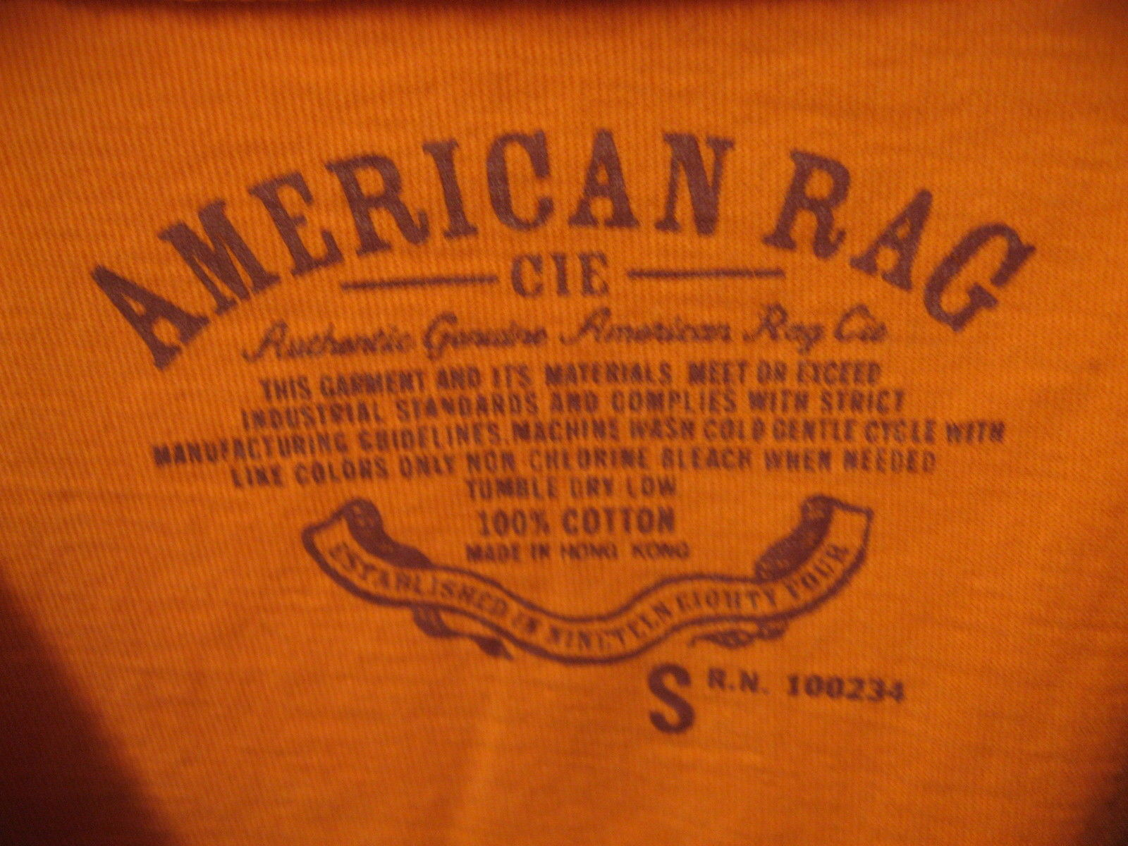 Chisick Rugby Football American Rag Cie. Company Sports Orange Team T Shirt Sm