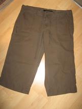 Calvin Klein Women's Size 10 Green Khaki Roll Up Cropped Cotton Linen Pants - $29.69