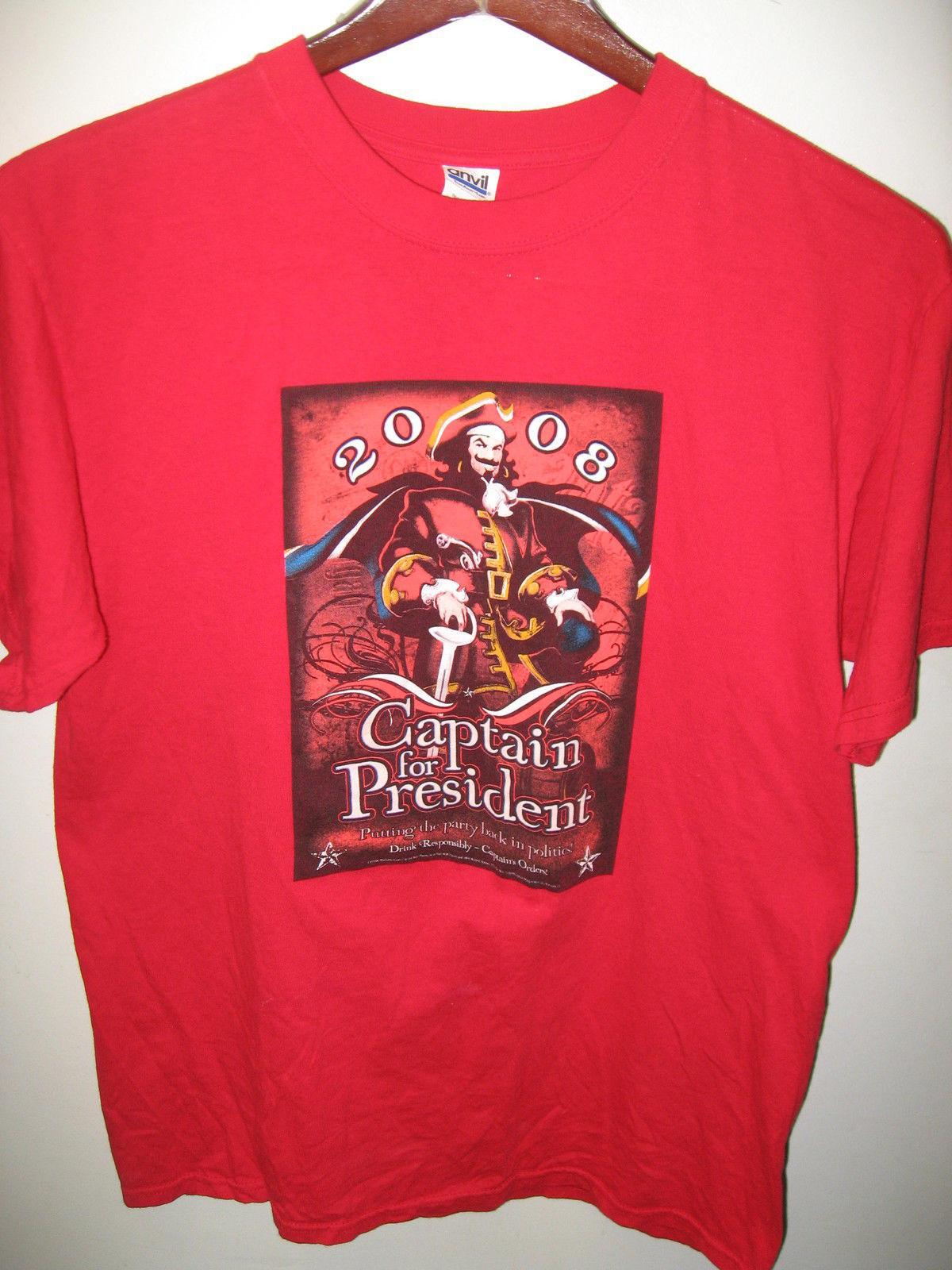 captain morgan spiced rum 2008 pirate for president cocktail bar pub t shirt lrg t shirts. Black Bedroom Furniture Sets. Home Design Ideas