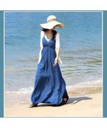 Summer Sun Extra Long Thin V Neck Halter Straps Bohemian Style Beach Max... - $42.95