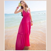 Summer Sun Extra Long Thin V Neck Halter Straps Bohemian Style Beach Maxi Dress  image 2